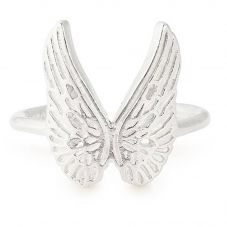 ALEX AND ANI Sterling Silver Guardian Angel Wing Adjustable Ring PC18ERGAS