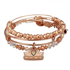 ALEX AND ANI Rose Gold Plated Queen Mom Bangle Set A18SETQMSR