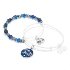 ALEX AND ANI Peacy Navy Art Infusion Set of 2 Charm Bangles A16HS03SS
