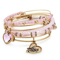 ALEX AND ANI Alive With Love- Gold Finish Pink Bead Five Bangle Set A17SETINTRG