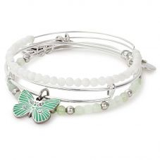 ALEX AND ANI Cosmic Messages Set Of 3 Butterfly Bangles A17SETBFSS