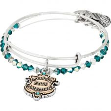 ALEX AND ANI Silver Slytherin Motto Bangle Set AS18HP49TTRS