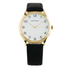 Sekonda Black and Gold Leather White Dial Strap Watch 1854