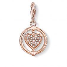THOMAS SABO Rose Gold Plated Cubic Zirconia Rotating Heart Charm 1859-416-14