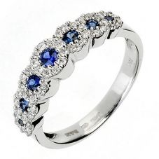 18ct White Gold Diamond Sapphire 7 Stone Ring 18DR236-S-W