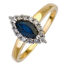 18ct Gold Diamond Sapphire marquise Cluster Ring 18DR256-S-2C