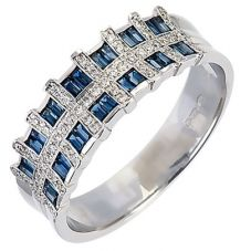 18ct White Gold Diamond Sapphire Check Ring 18DR278-S-W