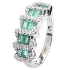 18ct White Gold Diamond and Emerald Fancy Ring 18DR331-E-W