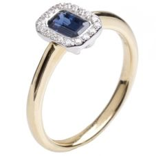 18ct Gold Diamond and Sapphire Rectangle Cluster Ring 18DR334-S-2C