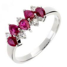 18ct White Gold 5 Diamond 5 Ruby Fancy Ring 18DR345-R-W