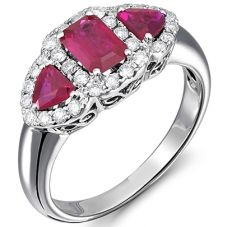 18ct White Gold Diamond Surrounded Triple Ruby Ring 18DR375-R-W