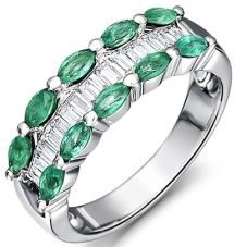 18ct White Gold Emerald Diamond Three Row Ring 18DR395-E-W