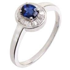 18ct White Gold Diamond Sapphire Oval Cluster Ring 18DR415-S-W