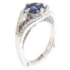 18ct White Gold Diamond Sapphire Oval Fancy Ring 18DR444-S-W