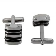 Thomas Henry Matte Black Double Lines Cufflinks SCUFF090-D