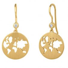 byBiehl Gold Plated Beautiful World Dropper Earrings 4-1601-GP