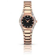 Sekonda Ladies Aurora Black Stone Set Dial Rose Gold Plated Bracelet Watch 2200