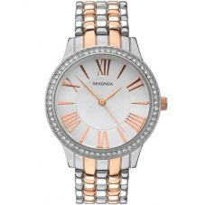 Sekonda Ladies Editions Two Tone Rose Gold Plated Silver Stone Set Bracelet Watch 2399