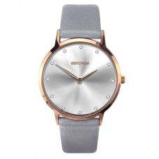 Sekonda Ladies Editions Rose Gold Plated Silver Sunray Stone Set Dial Grey Leather Strap Watch 2938