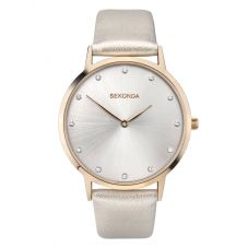Sekonda Ladies Editions Rose Gold Plated Silver Sunray Stone Set Dial Leather Strap Watch 2939