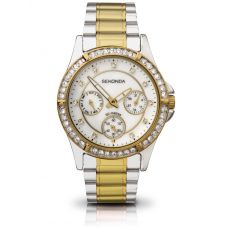 Sekonda Ladies Stone Set Day Date Mother Of Pearl Dial Two-Tone Gold Plated Bracelet Watch 4112