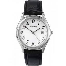 Sekonda Mens Black Leather Strap Watch 3473