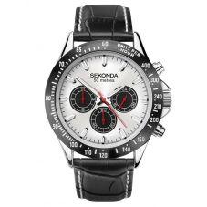 Sekonda Mens Dual Time Chrono Silver Dial Black Leather Strap Watch 1647