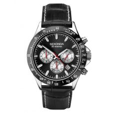 Sekonda Mens Dual Time Chrono Black Dial Leather Strap Watch 1648