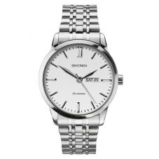 Sekonda Mens Classic Stainless Steel White Dial Bracelet Watch 1664