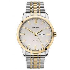 Sekonda Mens Classic White Dial Two Tone Bracelet Watch 1666