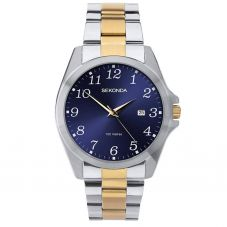 Sekonda Mens Blue Dial Full Figure Two Tone Bracelet Watch 1638
