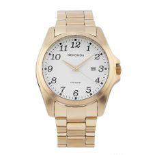 Sekonda Mens White Dial Full Figure Gold Tone Bracelet Watch 1637