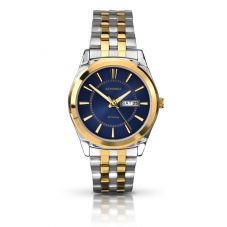 Sekonda Mens Classic Blue Sunray Dial Two Tone Bracelet Watch 1032