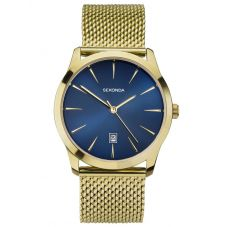 Sekonda Mens Blue Sunray Dial Gold Plated Milanese Bracelet Watch 1588