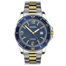 Sekonda Mens Sports Blue Sunray Dial Two Tone Bracelet Watch 1591