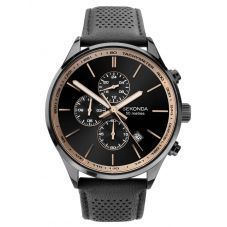 Sekonda Mens Chronograph Black Sunray Dial Leather Strap Watch 1774