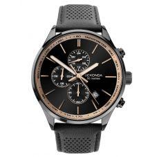 Sekonda Mens Chronograph Black Sunray Dial Leather Strap Watch 1774