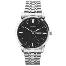 Sekonda Mens Classic Black Dial Stainless Steel Bracelet Watch 1665