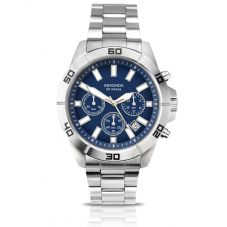 Sekonda Mens Chronograph Dark Blue Dial Stainless Steel Bracelet Watch 1218