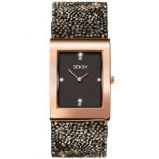Sekonda Seksy Rocks Ladies Rose Gold Plated Black Crystal Watch 2653