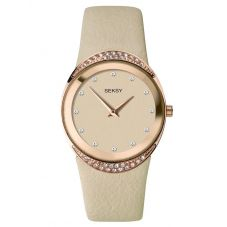 Sekonda Ladies Seksy Rose Gold Plated Beige Leather Strap Watch 2729