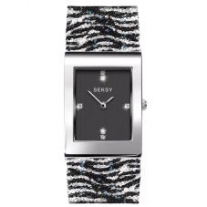 Sekonda Ladies Seksy Rocks Stainless Steel Black Dial Glitter Zebra Bracelet Watch 2853