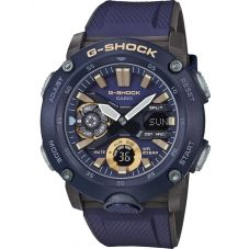 Casio G Shock Classic Carbon Core Guard Chronograph Dual Display Blue Plastic Strap Watch GA-2000-2AER