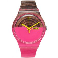 Swatch Unisex Pink Wood Watch SUOP703