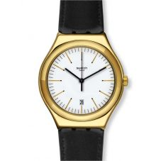 Swatch Mens Edgy Time Black Leather Strap Watch YWG404
