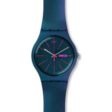 Swatch Mens New Gentleman Iridescent Rubber Strap Watch SUON708