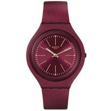 Swatch Unisex Skinavola Burgundy Rubber Strap Watch SVUR102