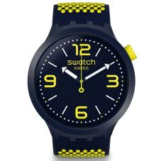 Swatch Unisex BBNeon Blue & Yellow Rubber Strap Watch SO27N102