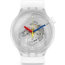 Swatch Big Bold Jellyfish Clear Rubber Strap Watch S027E100
