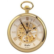 Woodford Mens Gold Plated Mechanical Open Case Pocket Watch 1030